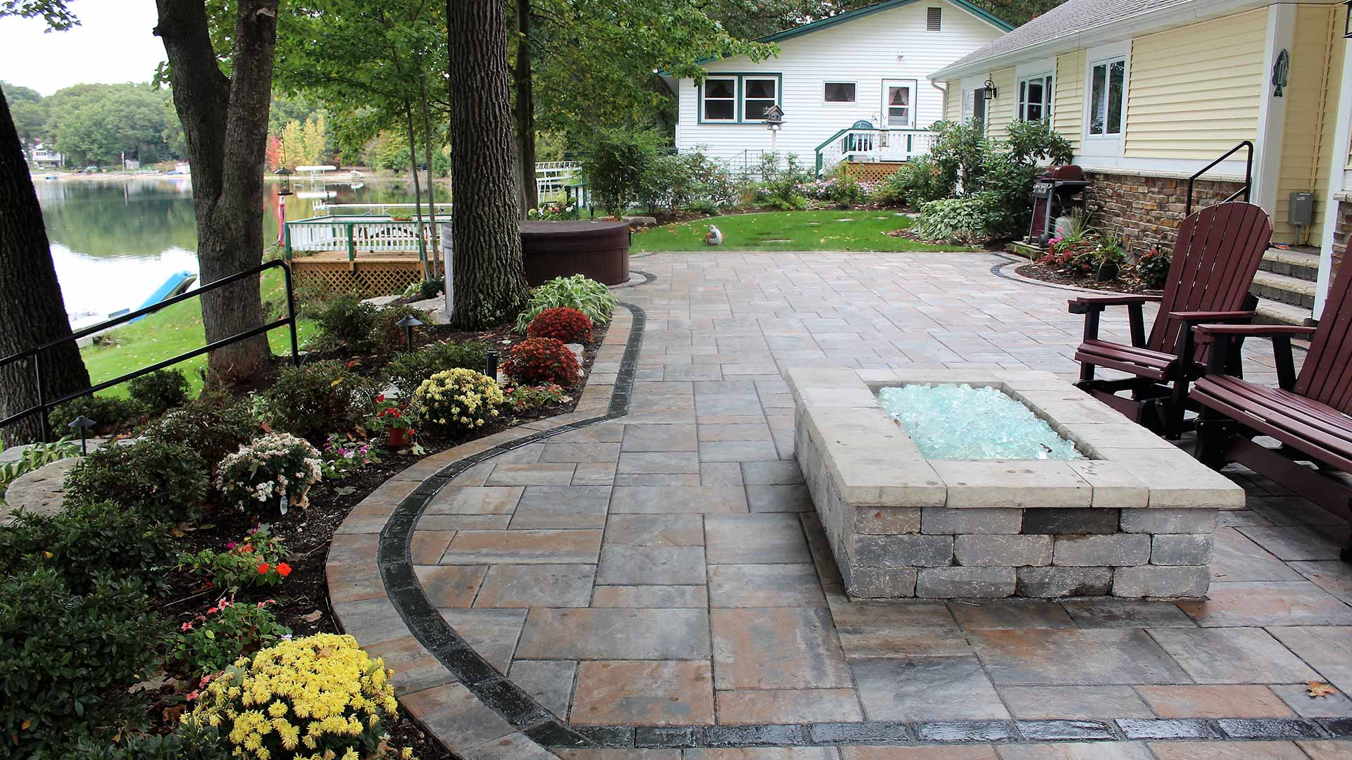Custom landscaping and outdoor patio in Grand Rapids, MI.