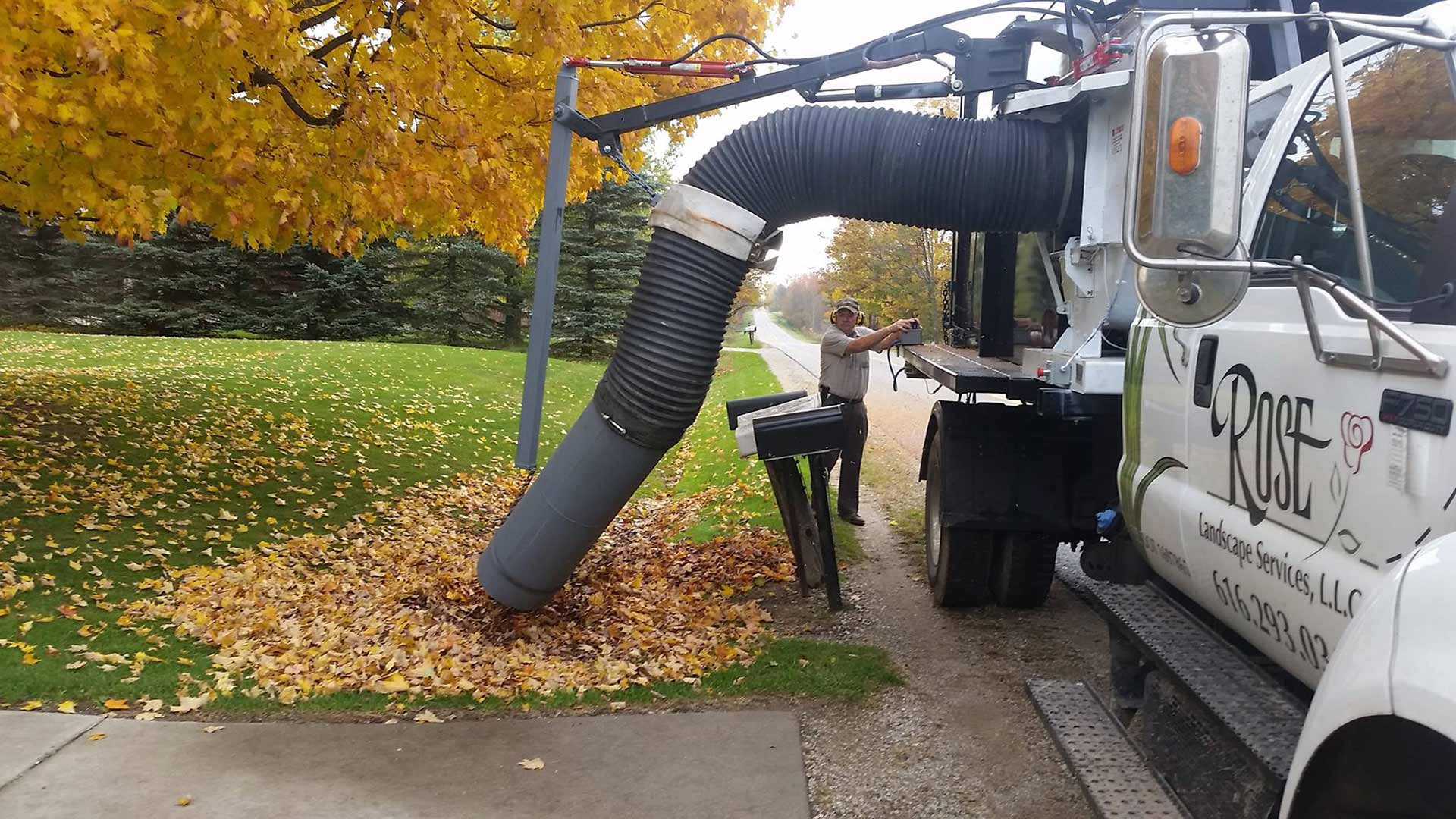 Curbside leaf removal in Grand Rapids, MI.