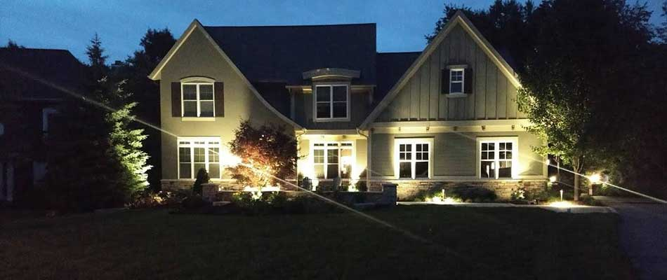 Outdoor lighting done for a house in East Grand Rapids, MI.