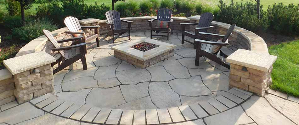 Custom fire pit construction in Wyoming, MI.