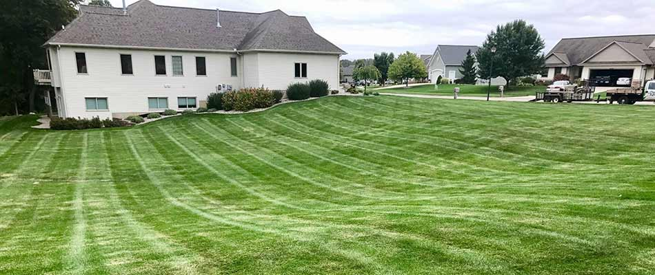 A home in Comstock Park, MI with fresh mowing lines.
