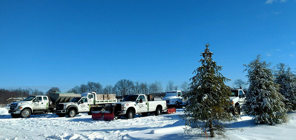 Fleet of Rose Landscape Services snow removal vehicles in Grand Rapids, MI.