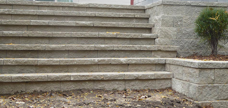 Custom stone steps and retaining wall in Grand Rapids, MI.